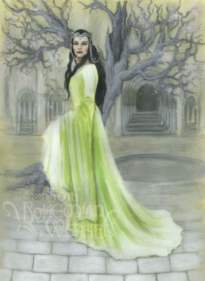 """Arwen in front of the White Tree in Gondor"" by The Bohemian Weasel"