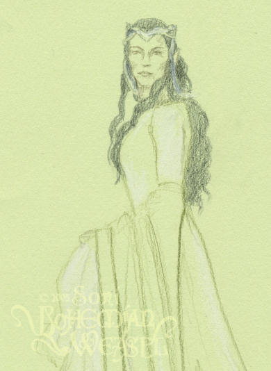 Work in progress 1 for Arwen at the coronation, by the Bohemian Weasel.