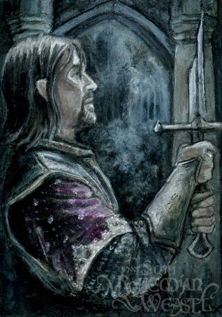 """""""Boromir examines a shard of Narsil"""" by The Bohemian Weasel"""