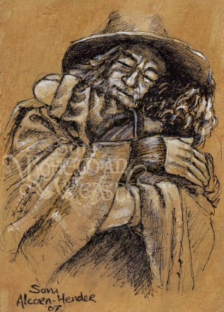 """Sketchcard for the Frodo and Gandalf hug"" by The Bohemian Weasel"