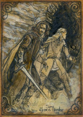 Aragorn and Legolas flee Paths of the Dead, by The Bohemian Weasel