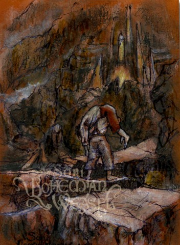 """Sam carries Frodo up Mt. Doom"" by The Bohemian Weasel"