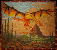 Smaug comes out of the Lonely Mountain, mosaic by Elatan-(T).